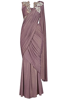 Lila Hand Embroidered Shimmer Drape Saree