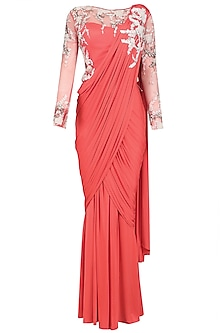 Coral Hand Embroidered Floral Drape Saree