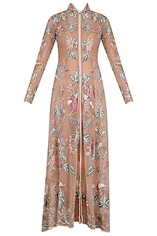 Old Rose Embroidered Long Jacket, Dhoti Pants and Blouse Set
