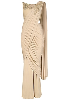 Light Gold Hand Embroidered Shimmer Drape Saree
