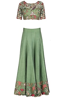 Forest Green Embroidered Blouse, Skirt, Lurex Dupatta and Inner Set