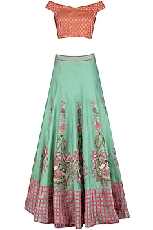 Sage Green Organza Cage Moon Nest Lehenga Set