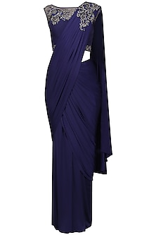 Cobalt Blue Embroidery Drape Saree with Blouse