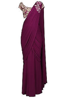 Violet Embroiderd Drape Saree with Blouse