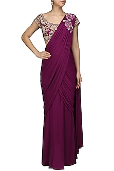 Violet Embroiderd Drape Saree with Blouse by Mansi Malhotra