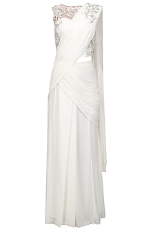 Ivory Embroidered Drape Saree with Blouse by Mansi Malhotra