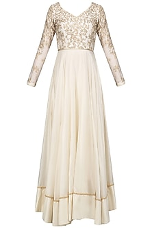 Ivory Thread and Beads Work Anarkali Set