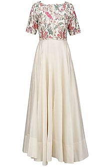 Ivory Beads and Multicolor Thread Work Anarkali Set