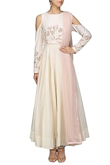 Ivory Cold Shoulder Embroidered Anarkali Set by Mansi Malhotra