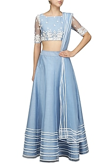 Blue White Lehenga Set