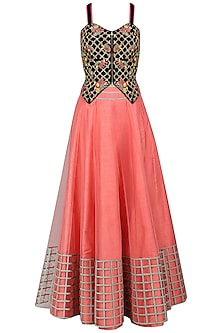 Coral and Black Embroidered Lehenga Set