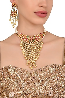 Gold Plated Kundan Necklace with Pearl and Tassels Earrings by Moh-Maya by Disha Khatri