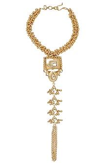 Gold Plated Kundan and Gunghroo Haath Phool by Moh-Maya by Disha Khatri