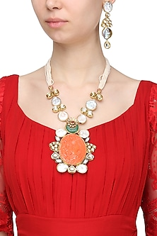 Gold Finish Semi Precious Stone and Orange Gothic Pendant Necklace Set by Moh-Maya by Disha Khatri