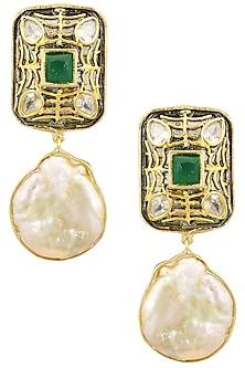 Gold Finish Emerald Stone Square Earrings by Moh-Maya by Disha Khatri