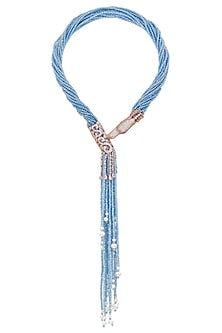 Gold finish swarovski dragonfly pendant with shiny cerulean multistring necklace by Moh-Maya by Disha Khatri