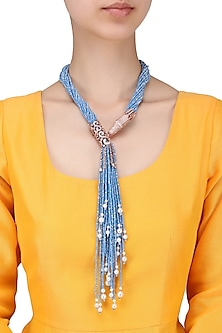 Gold finish swarovski dragonfly pendant with shiny cerulean multistring necklace by Moh-Maya by Disha Khatri