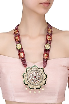 Gold finish meenakari pendant in deep red shiny beads multi string necklace by Moh-Maya by Disha Khatri