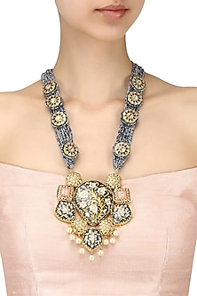 Gold finish meenakari pendant in teal blue beads multi string necklace by Moh-Maya by Disha Khatri