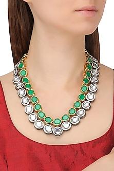 Gold Plated Dual Line Silver and Green Kundan Necklace by Moh-Maya by Disha Khatri