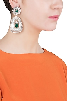 Silver Finish Diamond Zircon Earrings by Moh-Maya by Disha Khatri