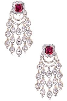 Gold Plated Diamond Zircon Earrings by Moh-Maya by Disha Khatri