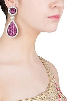 Silver Plated Diamond Zircon and Magenta Stone Earrings