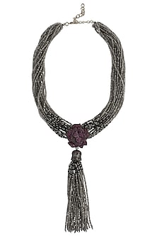 Antique Silver Finish Zircon and Grey Beads Necklace by Moh-Maya by Disha Khatri