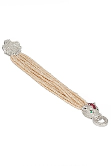Gold and Silver Dual Finish Zircon and Beige Beads Bracelet by Moh-Maya by Disha Khatri