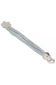 Silver Finish Zircon and Beige Beads Bracelet by Moh-Maya by Disha Khatri
