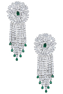 Gold Plated Silver and Emerald Stone Earrings by Moh-Maya by Disha Khatri