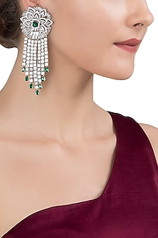 Gold Plated Silver and Emerald Stone Earrings