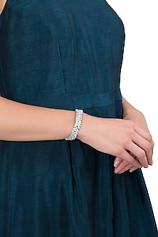 Gold Plated Silver Diamond Broad Bracelet