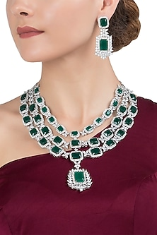 Gold Plated Silver and Emerald Necklace Set