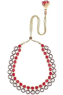 Gold Plated Kundan and Magenta Stones Necklace by Moh-Maya by Disha Khatri
