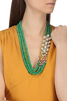Gold Plated Kundan and Emerald Beads Broach Necklace by Moh-Maya by Disha Khatri