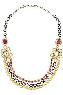 Gold Plated Kundan and Fawn Pearls Necklace by Moh-Maya by Disha Khatri