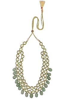 Gold Plated Kundan and Aqua Green Stones Necklace by Moh-Maya by Disha Khatri