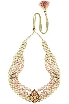 Gold Plated Kundan and Pearl Three Line Necklace by Moh-Maya by Disha Khatri