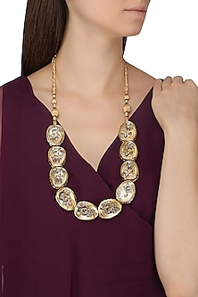 Gold Plated Polki Flower Design Necklace