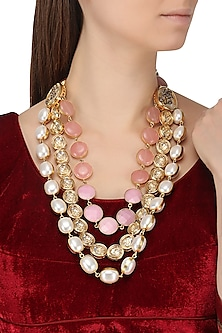 Gold Plated Kundan, Pearl and Rose Pink Stones Necklace