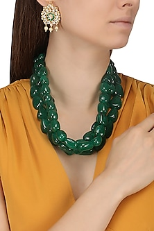 Semi Precious Green Stones Necklace Set