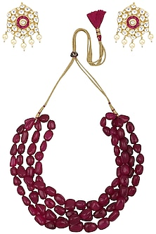 Semi Precious Red Stones Necklace Set by Moh-Maya by Disha Khatri