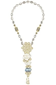 Gold Plated Zircons and Grey Beads Necklace by Moh-Maya by Disha Khatri