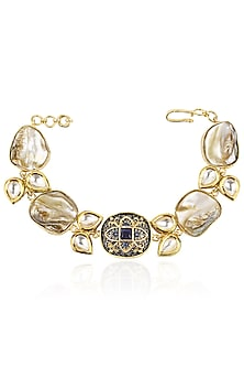 Gold Finish Oval Stone Bracelet by Moh-Maya by Disha Khatri