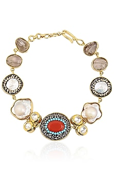 Gold Finish Coral Oval Stone Bracelet by Moh-Maya by Disha Khatri