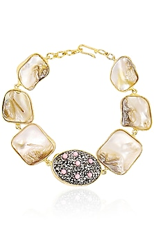 Gold Finish Sea Pearls and Zircons Bracelet by Moh-Maya by Disha Khatri