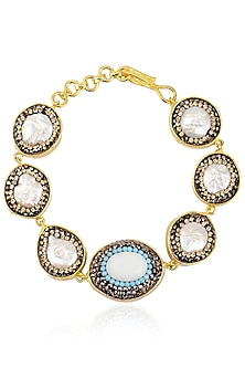 Gold Finish Aqua Zircons Bracelet by Moh-Maya by Disha Khatri