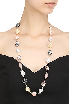 Baroque Pearls and Zircons String Necklace by Moh-Maya by Disha Khatri