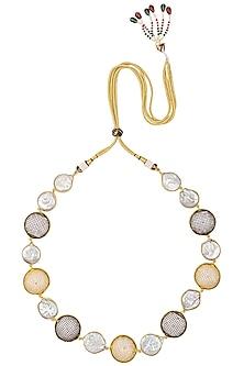 Gold Finish Sea Pearls and Zircons Necklace by Moh-Maya by Disha Khatri